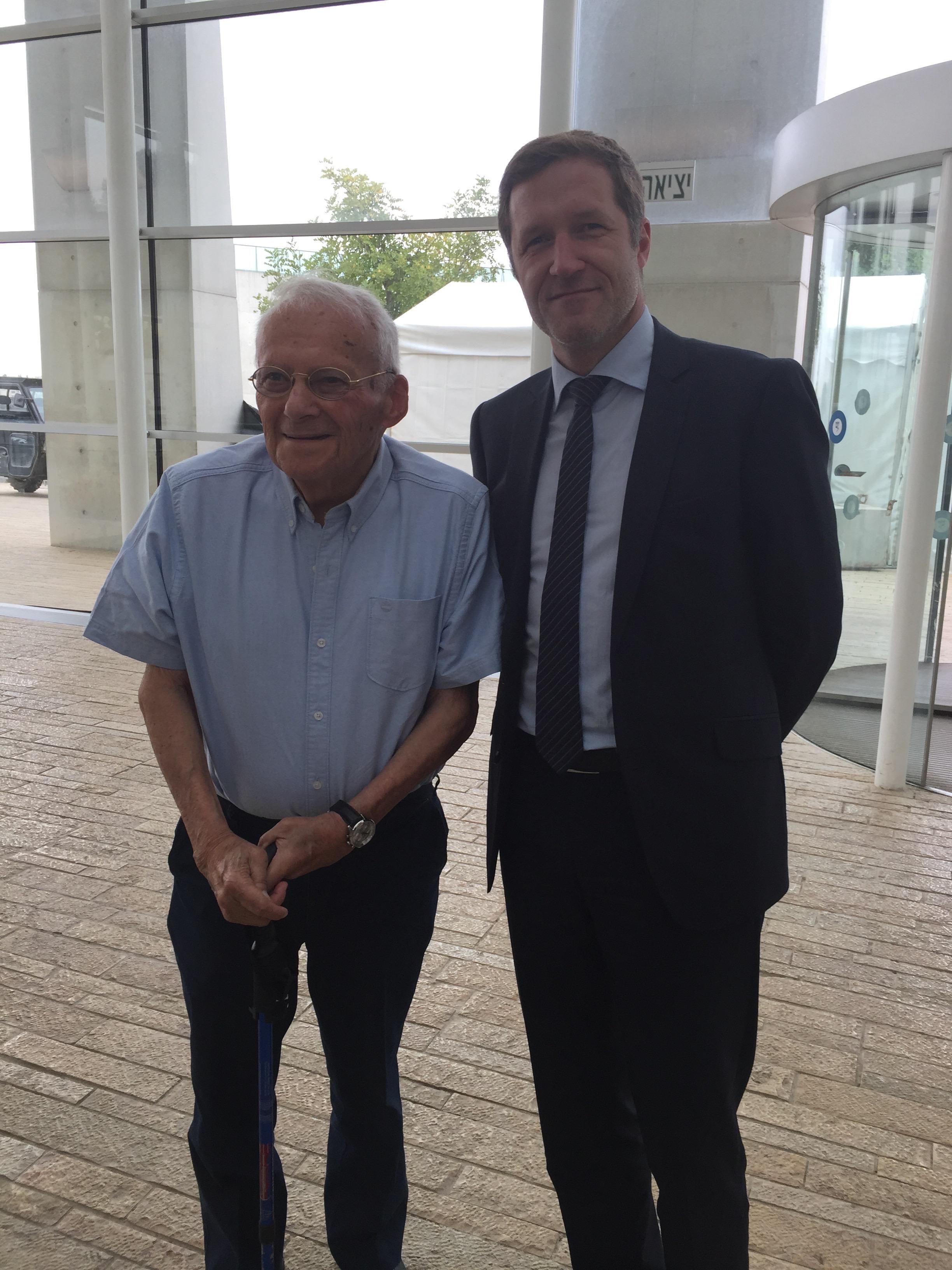 A Yad Vashem avec M. Wislitsky, survivant de la Shoah et originaire de Charleroi