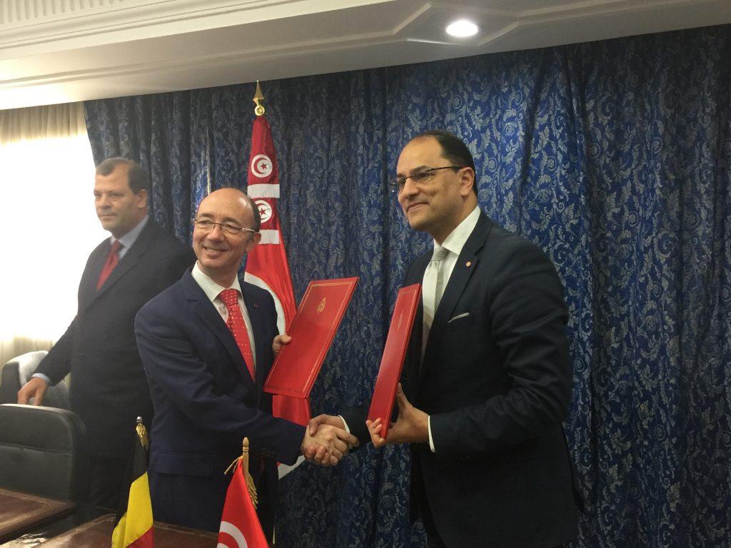 Rudy Demotte, Ministre-Président de la FWB et Slim Khadour, Ministre de l'enseignement supérieur tunisien